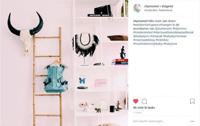 CITYMOM - Instagram post - Influencer samenwerking BabyBjörn draagzak
