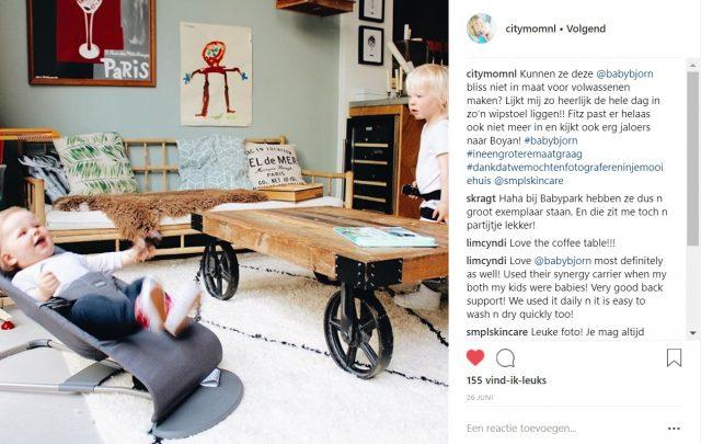 CITYMOM - Instagram post - Influencer samenwerking BabyBjörn wipstoel