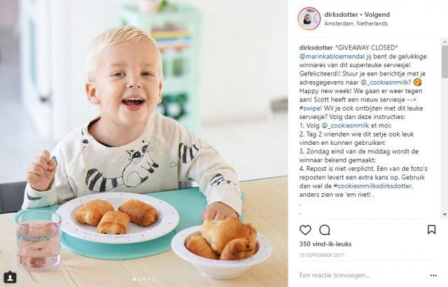 Winactie bij Dirksdotter * Instagram
