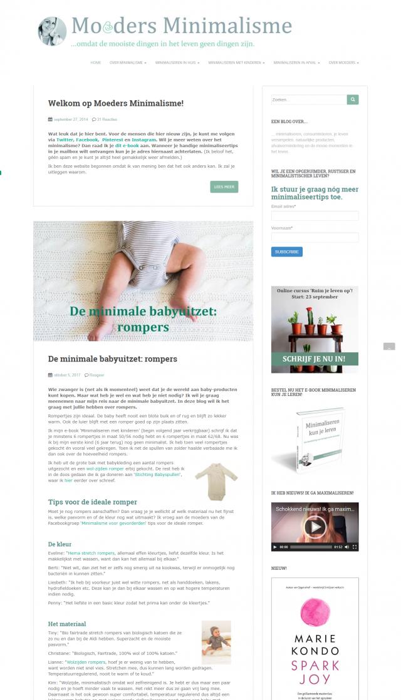 Homepage Moeders Minimalisme - duurzame mamablog