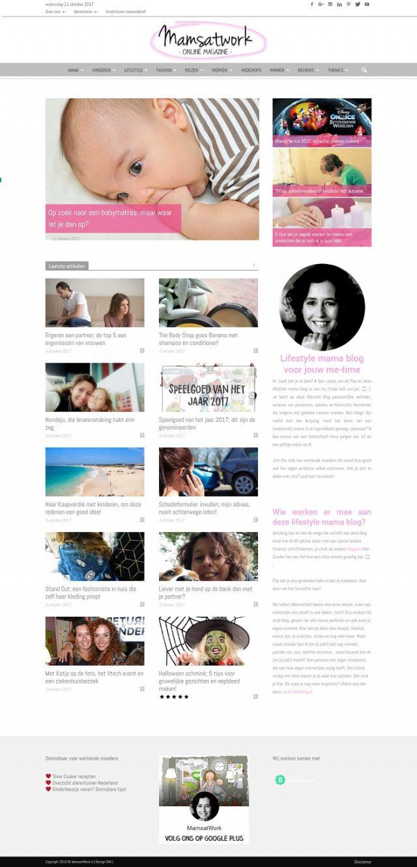 Homepage mamsatwork.nl - online mama magazine
