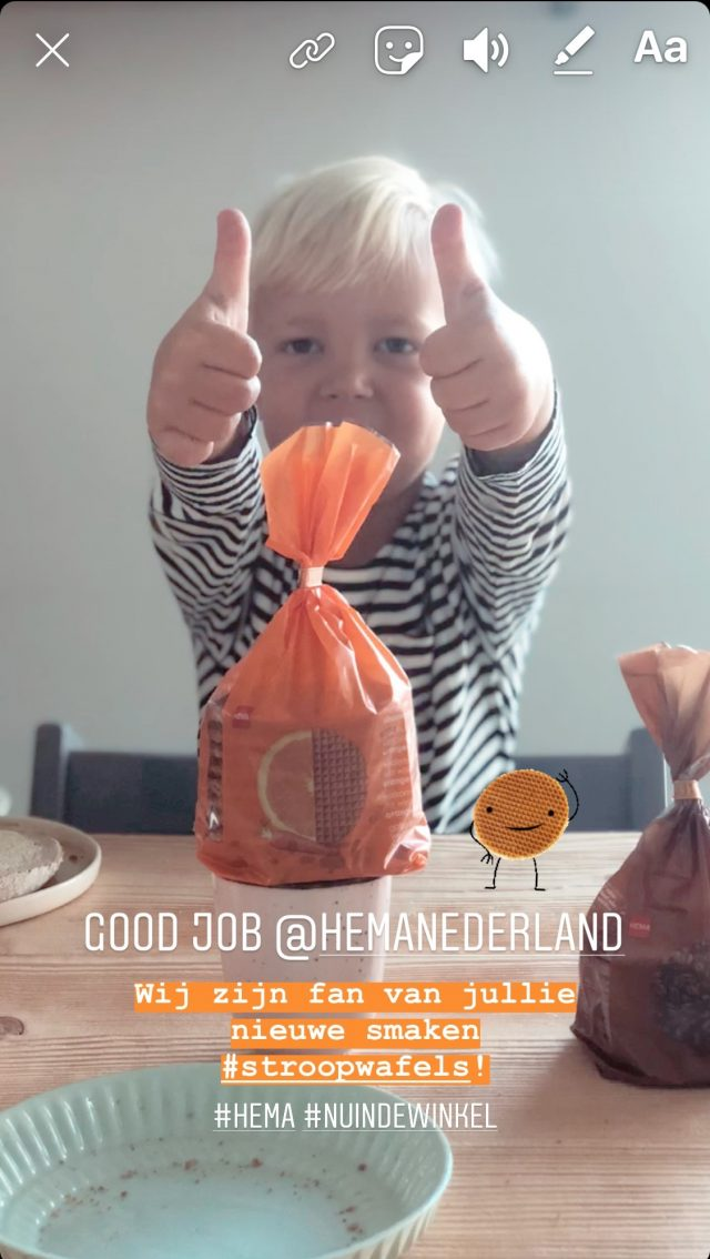 Influencer campagne stroopwafels - HEMA - Dirksdotter - Instagram story