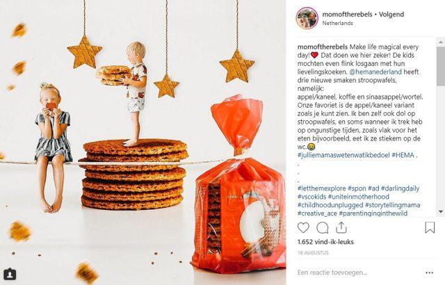 Influencer campagne stroopwafels - HEMA - Momoftherebels - Instagram post