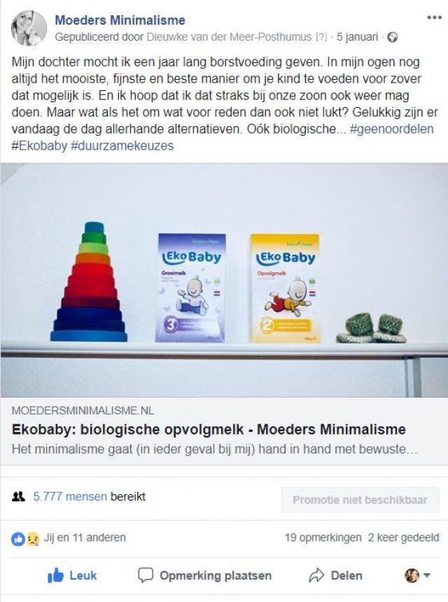 Moeders Minimalisme - Facebook post - Influencer samenwerking Ekobaby