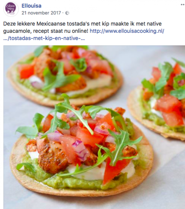 Influencer samenwerking native guacamole - Facebook