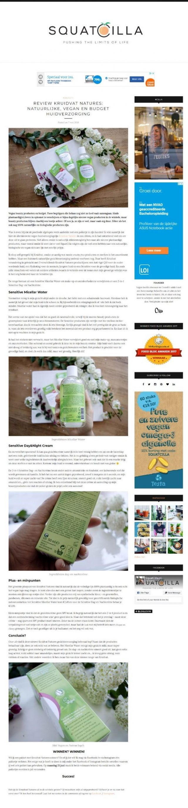 Squatcilla - review Kruidvat Natures - vegan influencer